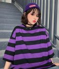 Purple Black Striped T-Shirt 1 - My Sweet Outfit - EGirl Outfits - Soft Girl Clothes