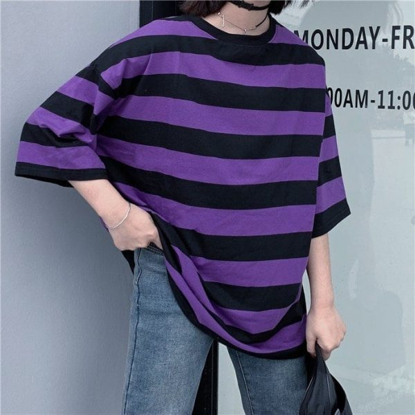 Purple Black Striped T-Shirt 2 - My Sweet Outfit - EGirl Outfits - Soft Girl Clothes