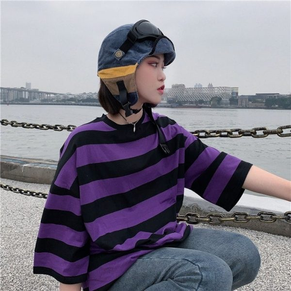 Purple Black Striped T-Shirt 3 - My Sweet Outfit - EGirl Outfits - Soft Girl Clothes