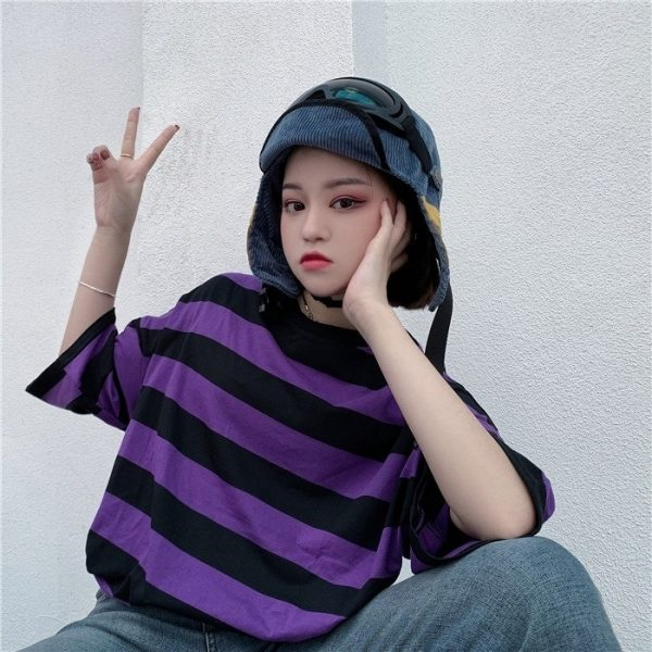 Purple Black Striped T-Shirt 4 - My Sweet Outfit - EGirl Outfits - Soft Girl Clothes
