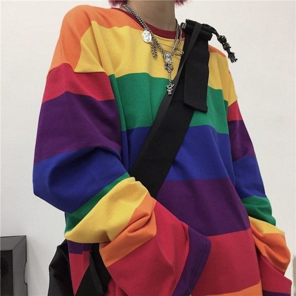 Rainbow Striped Oversized Sweatshirt 1 - My Sweet Outfit - EGirl Outfits - Soft Girl Clothes