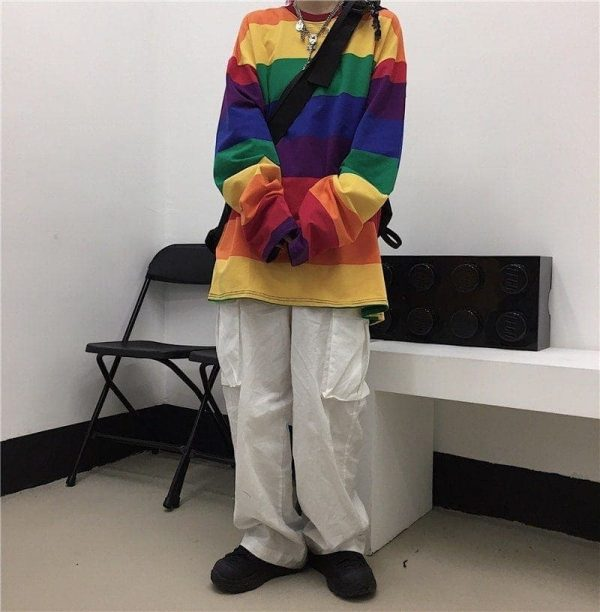 Rainbow Striped Oversized Sweatshirt 2 - My Sweet Outfit - EGirl Outfits - Soft Girl Clothes