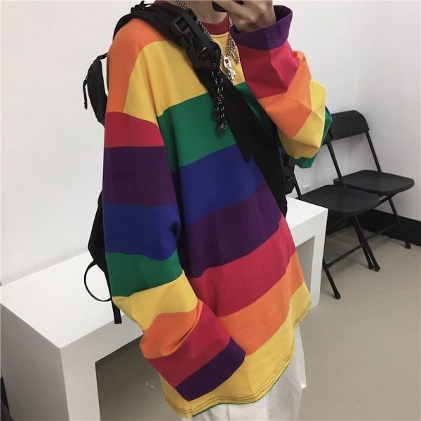 Rainbow Striped Oversized Sweatshirt 3 - My Sweet Outfit - EGirl Outfits - Soft Girl Clothes