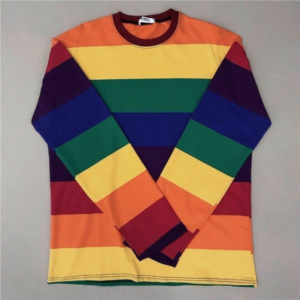 Rainbow Striped Oversized Sweatshirt 4 - My Sweet Outfit - EGirl Outfits - Soft Girl Clothes