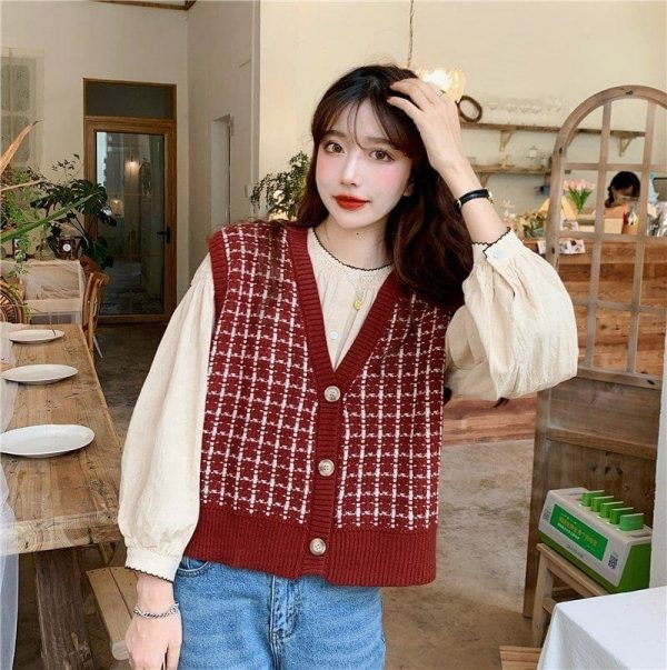Red Check Knitted Vest Cardigan 2 - My Sweet Outfit - EGirl Outfits - Soft Girl Clothes