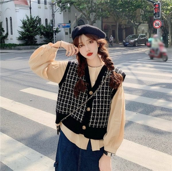 Red Check Knitted Vest Cardigan 4 - My Sweet Outfit - EGirl Outfits - Soft Girl Clothes