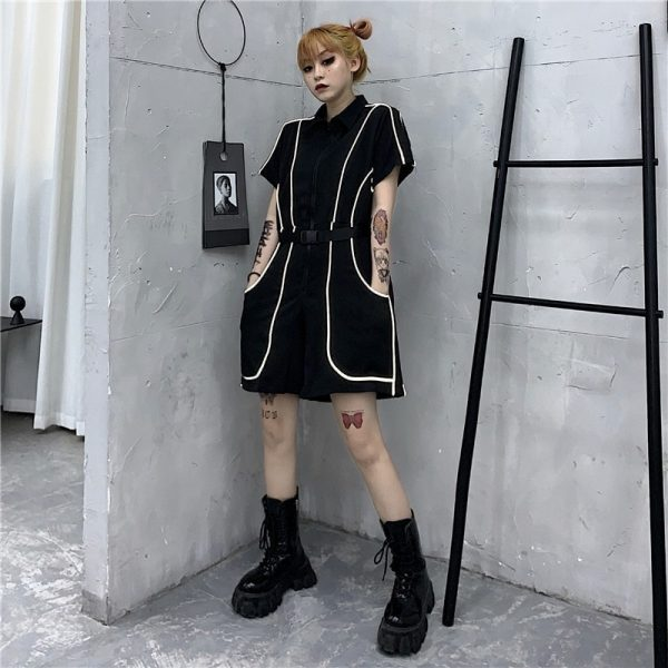 Reflective Stripe And Closure Jumpsuit 4 - My Sweet Outfit - EGirl Outfits - Soft Girl Clothes