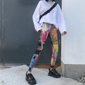 Retro Elastic Leggings 3 - My Sweet Outfit - EGirl Outfits - Soft Girl Clothes