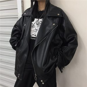 Retro Motorcycle Leather Jacket 1 - My Sweet Outfit - EGirl Outfits - Soft Girl Clothes