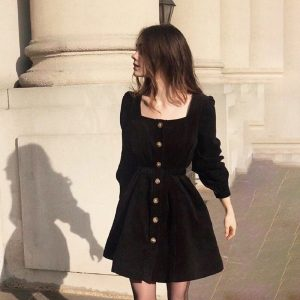 Retro Square Collar Slim Dress 1 - My Sweet Outfit - EGirl Outfits - Soft Girl Clothes Aesthetic
