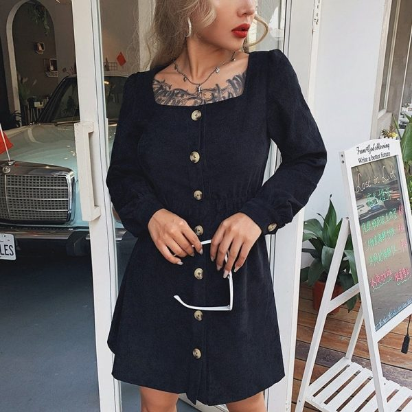 Retro Square Collar Slim Dress 2 - My Sweet Outfit - EGirl Outfits - Soft Girl Clothes Aesthetic