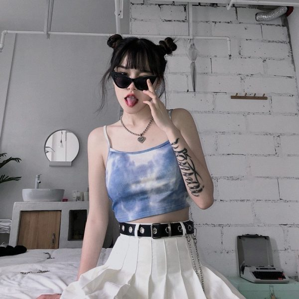 Retro Tie-Dye Sleevless Top 1 - My Sweet Outfit - EGirl Outfits - Soft Girl Clothes