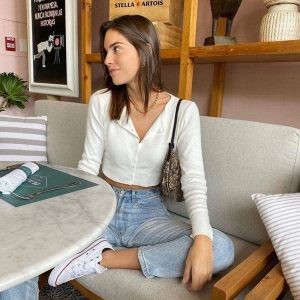 Retro White Short Blouse 4 - My Sweet Outfit - EGirl Outfits - Soft Girl Clothes (3)