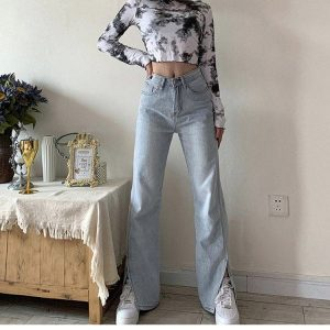 Retro Wide Splitted Jeans 1 - My Sweet Outfit - EGirl Outfits - Soft Girl Clothes