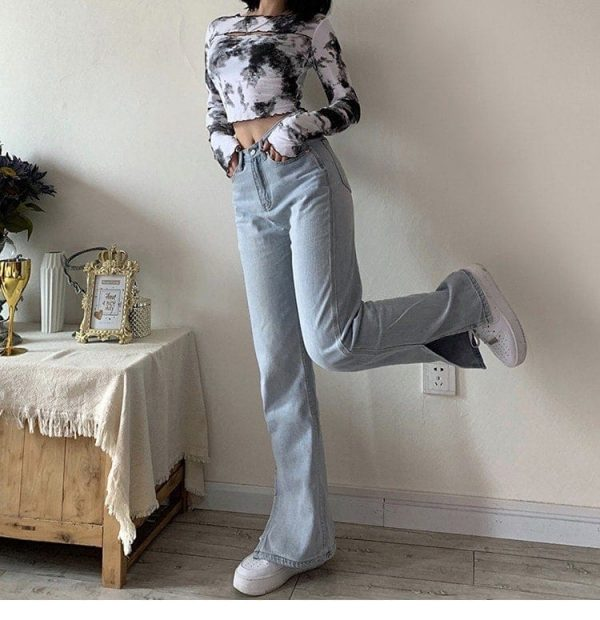 Retro Wide Splitted Jeans 2 - My Sweet Outfit - EGirl Outfits - Soft Girl Clothes