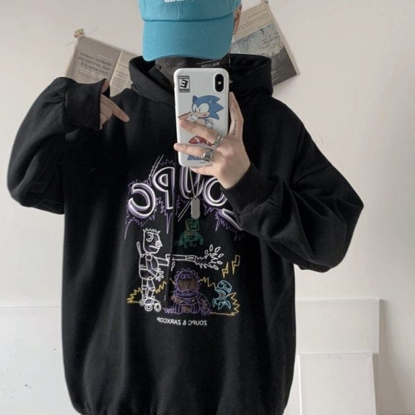 Robot Print Oversized Hoodie 1 - My Sweet Outfit - EGirl Outfits - Soft Girl Clothes