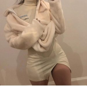 Short Slim Knitted Dress 3 - My Sweet Outfit - EGirl Outfits - Soft Girl Clothes