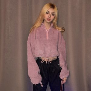 Short sweater with collar and zip 1 - My Sweet Outfit - EGirl Outfits - Soft Girl Clothes