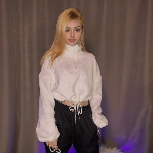 Short sweater with collar and zip 3 - My Sweet Outfit - EGirl Outfits - Soft Girl Clothes