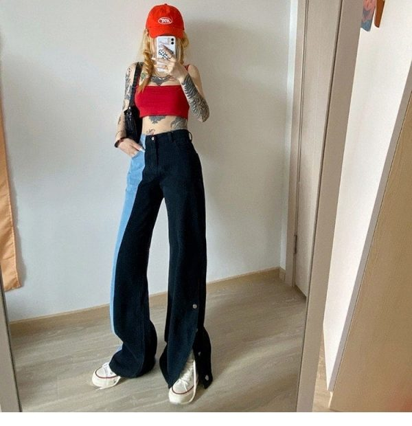 Straight Contrast Color Jeans 3 - My Sweet Outfit - EGirl Outfits - Soft Girl Clothes