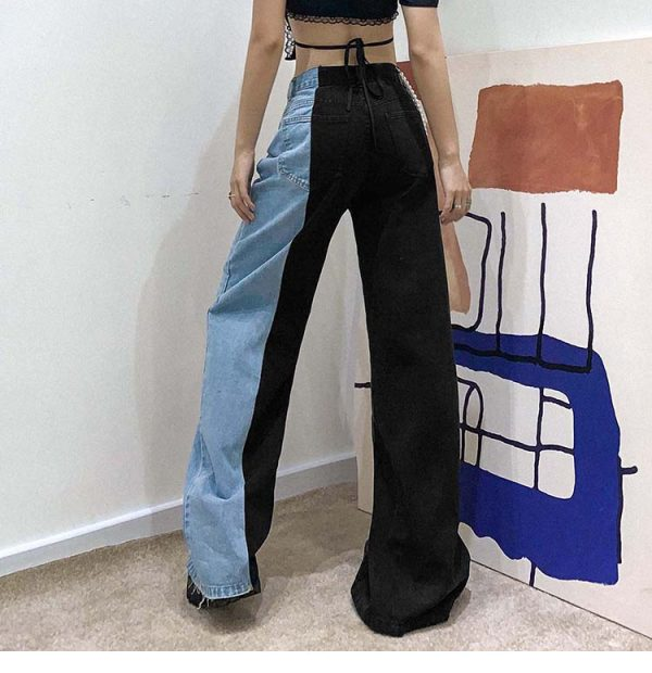 Straight Contrast Color Jeans 4 - My Sweet Outfit - EGirl Outfits - Soft Girl Clothes