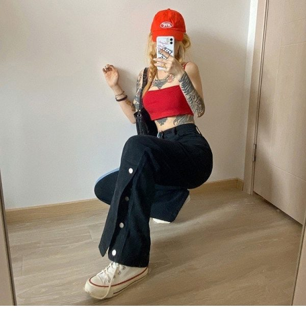 Straight Contrast Color Jeans 5 - My Sweet Outfit - EGirl Outfits - Soft Girl Clothes