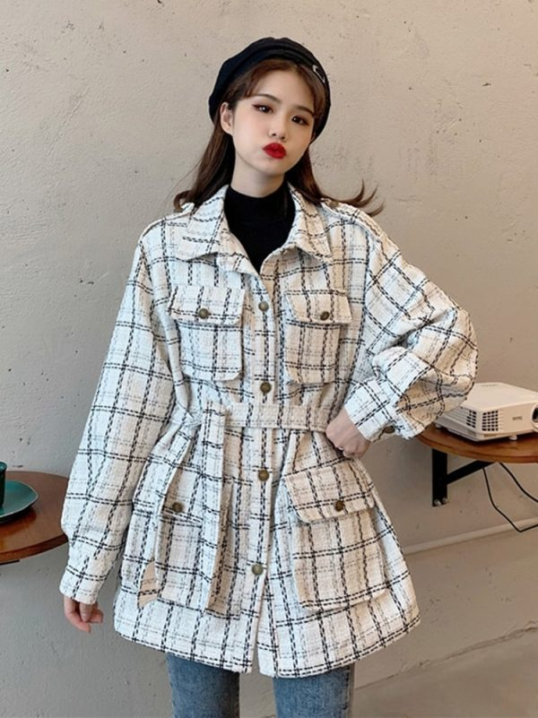 Straight-Waist Check Wool Coat 1 - My Sweet Outfit - EGirl Outfits - Soft Girl Clothes