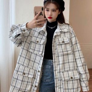 Straight-Waist Check Wool Coat 2 - My Sweet Outfit - EGirl Outfits - Soft Girl Clothes