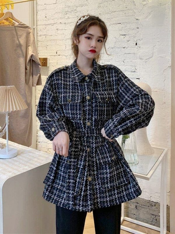Straight-Waist Check Wool Coat 3 - My Sweet Outfit - EGirl Outfits - Soft Girl Clothes