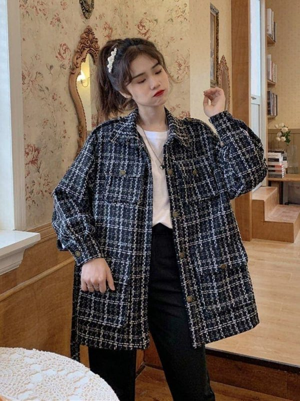 Straight-Waist Check Wool Coat 4 - My Sweet Outfit - EGirl Outfits - Soft Girl Clothes