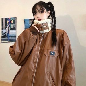 Thick Long-Sleeved Motorcycle Jacket 1 - My Sweet Outfit - EGirl Outfits - Soft Girl Clothes