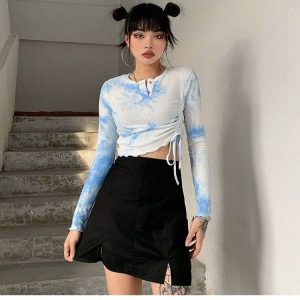 Tie-Dye Long-Sleeved Top 1 - My Sweet Outfit - EGirl Outfits - Soft Girl Clothes