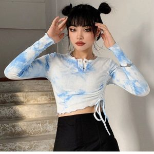 Tie-Dye Long-Sleeved Top 2 - My Sweet Outfit - EGirl Outfits - Soft Girl Clothes