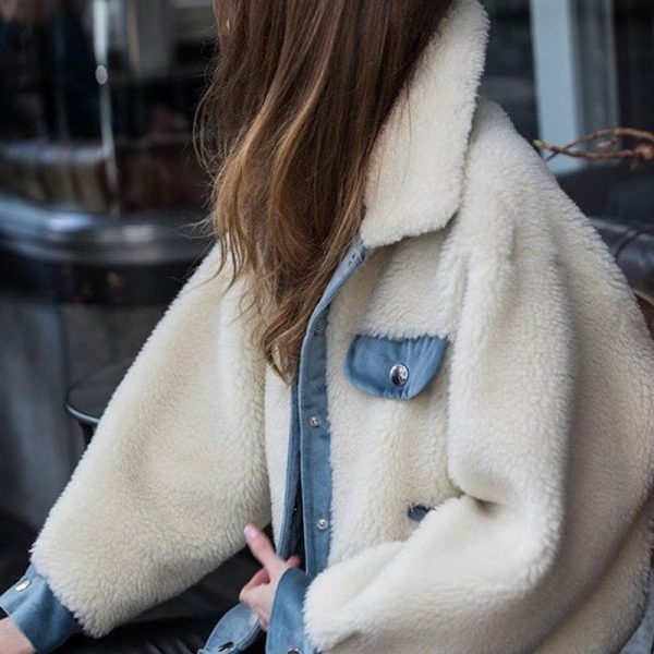 Warm Fluffy Collar Jacket 1 - My Sweet Outfit - EGirl Outfits - Soft Girl Clothes