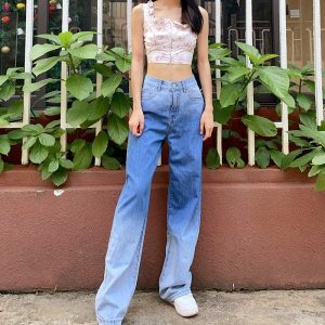 Washed Out High Waisted Jeans 1 - My Sweet Outfit - EGirl Outfits - Soft Girl Clothes