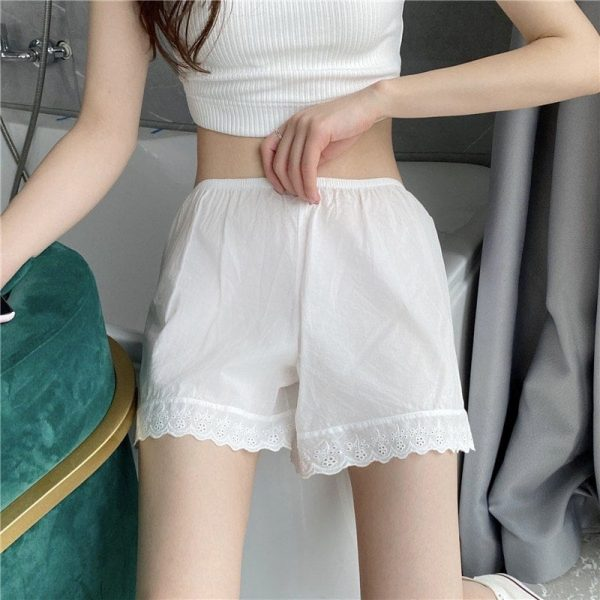 White Lace Summer Home Shorts 1 - My Sweet Outfit - EGirl Outfits - Soft Girl Clothes