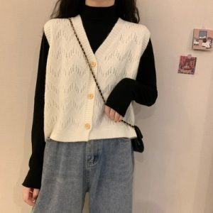 White Rib Knit Vest Cardigan 1 - My Sweet Outfit - EGirl Outfits - Soft Girl Clothes 1