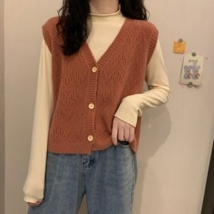 White Rib Knit Vest Cardigan 2 - My Sweet Outfit - EGirl Outfits - Soft Girl Clothes