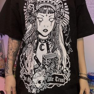 Witch Girl Black T-Shirt 1 - My Sweet Outfit - EGirl Outfits - Soft Girl Clothes