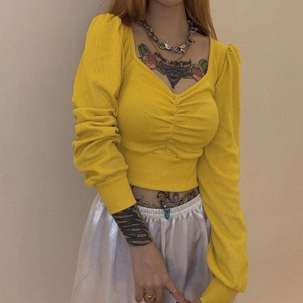 Yellow Retro Long-Sleeved Top 1 - My Sweet Outfit - EGirl Outfits - Soft Girl Clothes