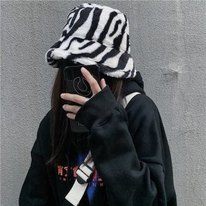Zebra Pattern Warn Fisherman Hat 1 - My Sweet Outfit - EGirl Outfits - Soft Girl Clothes