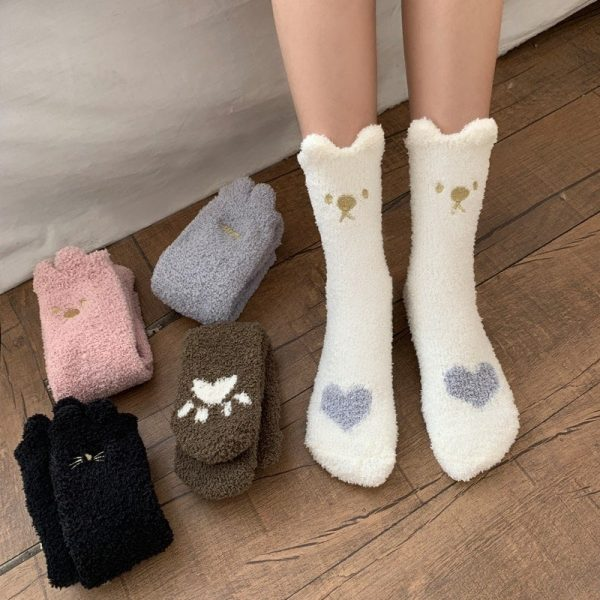 Сute Warm Номе Socks With Embroidery 1 - My Sweet Outfit - EGirl Outfits - Soft Girl Clothes Aesthetic - Grunge Fashion Grime Hip Emo Rap Trap