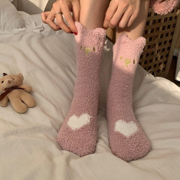 Сute Warm Номе Socks With Embroidery3 - My Sweet Outfit - EGirl Outfits - Soft Girl Clothes Aesthetic - Grunge Fashion Grime Hip Emo Rap Trap
