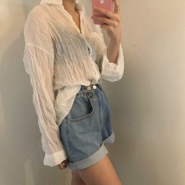 Adjustable Turn Up Denim Shorts 2 - My Sweet Outfit - EGirl Outfits - Soft Girl Clothes Aesthetic - Grunge Fashion Tumblr Hip Emo Rap Trap