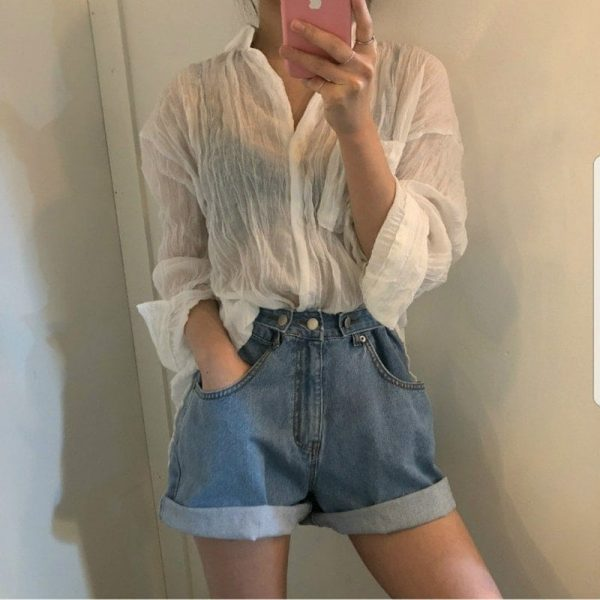 Adjustable Turn Up Denim Shorts 3 - My Sweet Outfit - EGirl Outfits - Soft Girl Clothes Aesthetic - Grunge Fashion Tumblr Hip Emo Rap Trap