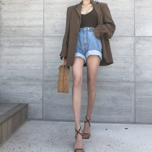 Adjustable Turn Up Denim Shorts 5 - My Sweet Outfit - EGirl Outfits - Soft Girl Clothes Aesthetic - Grunge Fashion Tumblr Hip Emo Rap Trap