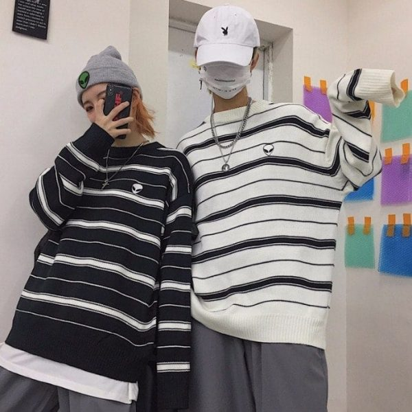 Alien Embroidery Stripes Loose Outer Sweater 2 - My Sweet Outfit - EGirl Outfits - Soft Girl Clothes Aesthetic - Grunge Fashion Tumblr Hip Emo Rap Trap