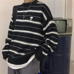 Alien Embroidery Stripes Loose Outer Sweater 3 - My Sweet Outfit - EGirl Outfits - Soft Girl Clothes Aesthetic - Grunge Fashion Tumblr Hip Emo Rap Trap