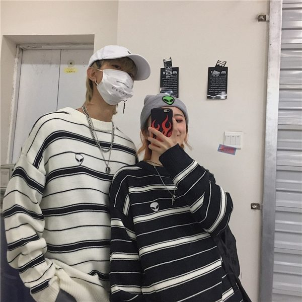 Alien Embroidery Stripes Loose Outer Sweater 4 - My Sweet Outfit - EGirl Outfits - Soft Girl Clothes Aesthetic - Grunge Fashion Tumblr Hip Emo Rap Trap