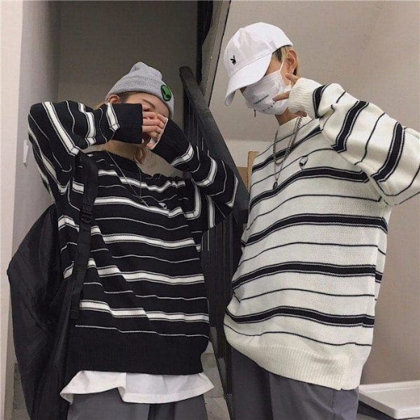 Alien Embroidery Stripes Loose Outer Sweater 5 - My Sweet Outfit - EGirl Outfits - Soft Girl Clothes Aesthetic - Grunge Fashion Tumblr Hip Emo Rap Trap